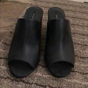 Black Faux Leather Heels